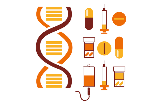 Illustration of DNA and medicines