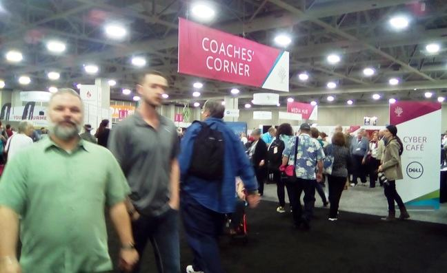coaches corner in the exhibit hall at RootsTech