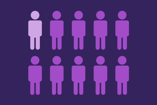 Illustration showing that one in ten of the English working population works for the NHS