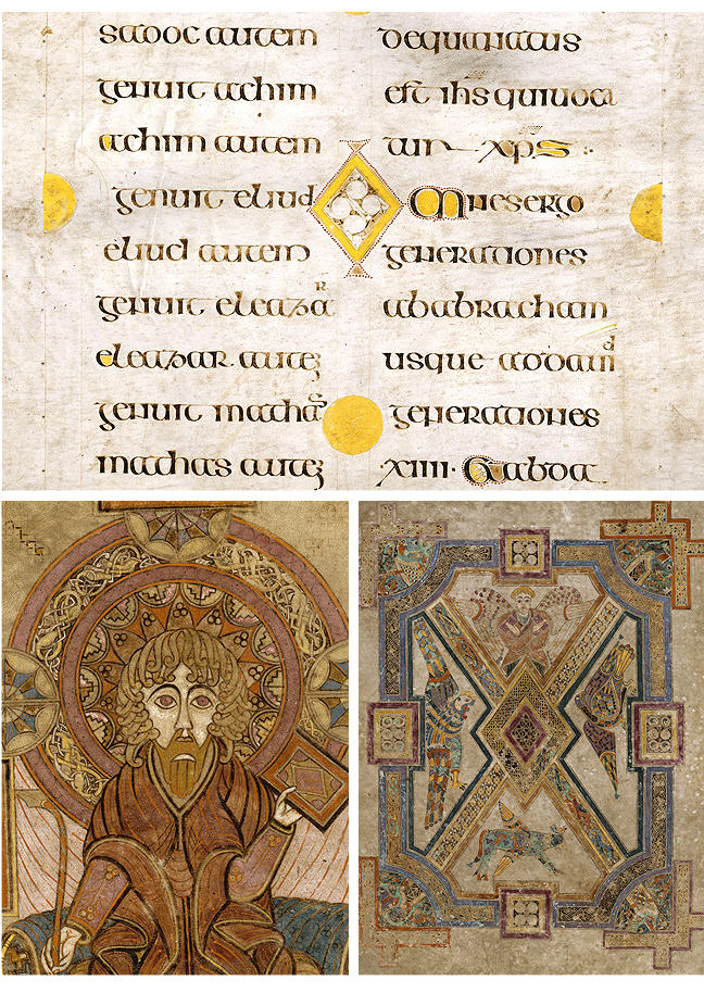 Figures 7-9, from the Book of Kells, a lozenge in the place of an 'O', an image of St. John, and an image of the evangelists around a lozenge, respectively