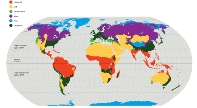 A projection map of the Earth, colour coded to show the climatic zones, with; equatorial, arid, mediterranean, snow, polar and temperate.