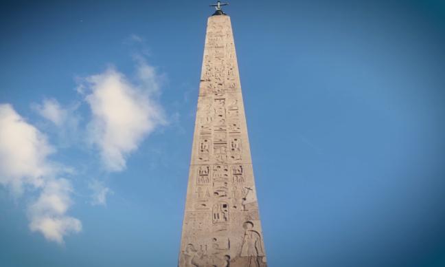 A towering obelisk