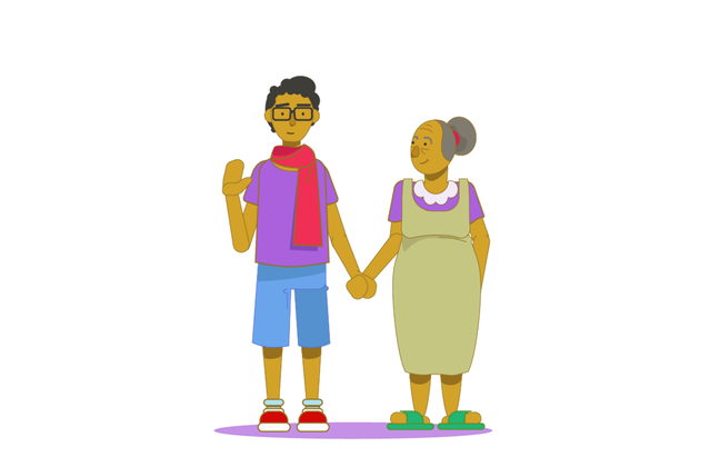 An illustration of a teenage boy holding his grandmother's hand as he waves towards us