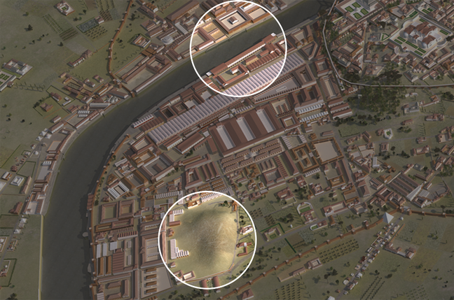 A 3D digital map highlighting 2 areas. The top circle is highlighting an area by the river and the bottom circle is highlighting an area that is on a hill