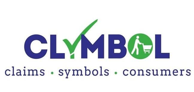 Clymbol logo with the letters spelled out in purple, the 'y' being a green tick and the 'o' being a circular graphic of a person with a trolley. Under the letters are the words: claims, symbols, consumers