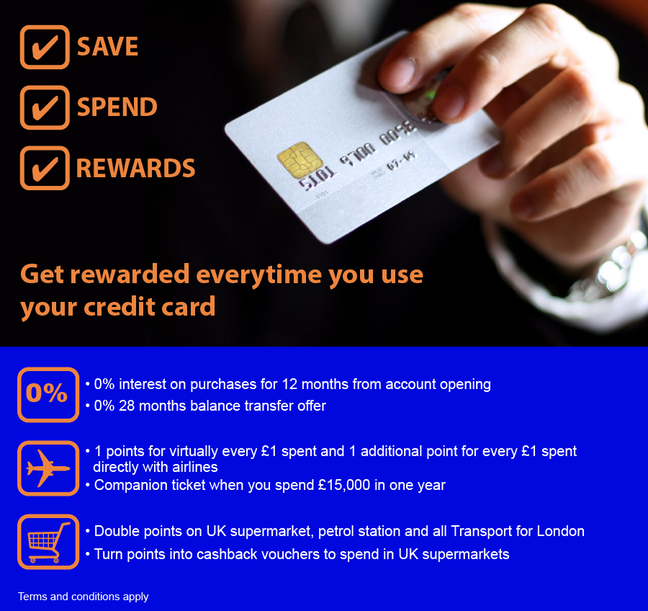 Advert for a Credit card including lots of persuasive offers such as: 'Get rewarded every time you use your credit card'