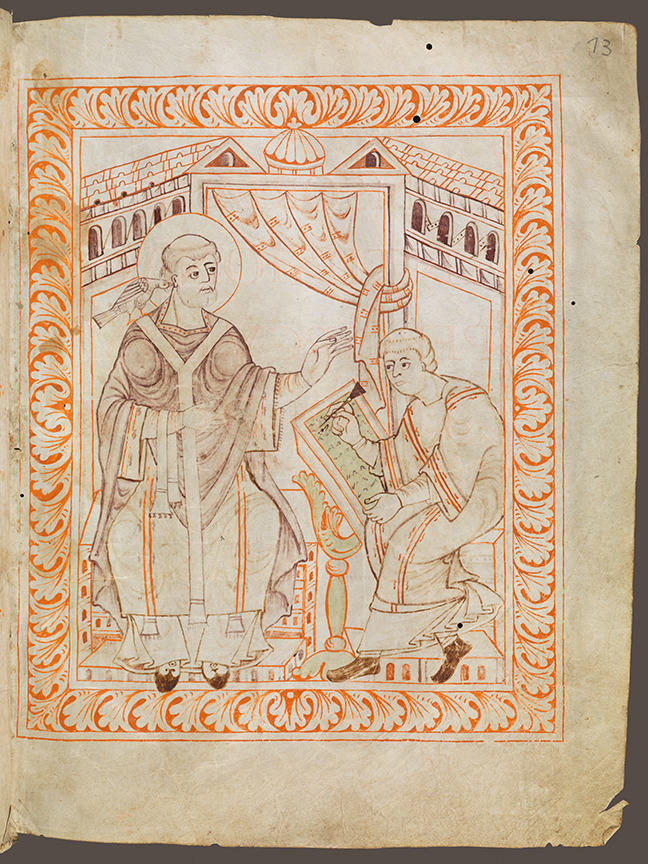 Man sitting and writing neumes while Gregor on the left is dictating the music