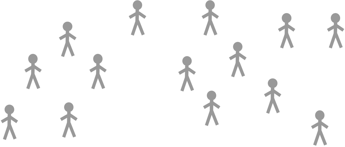Fourteen unconnected schematic people which stand for nodes in a network.