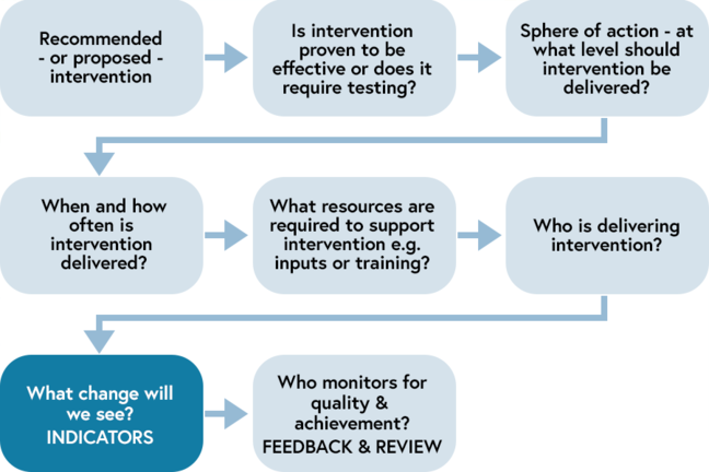 Step by step guide to developing indicators within the local context - from intervention recommendation through to monitoring