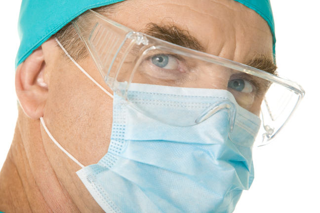 Surgical mask and eye protection