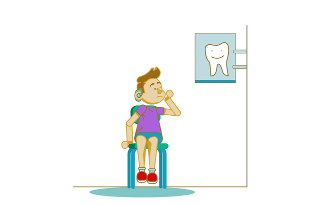 An illustration of a boy with a hearing aid is sitting on a chair clutching his cheek. He looks in a little pain. He is looking up at a sign of a tooth