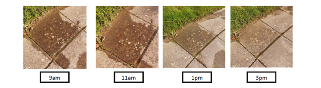Further example puddle photos showing puddle water outline changing during the day (reducing)