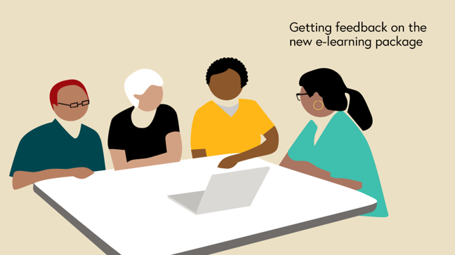 Illustration of the quality improvement team getting feedback on the elearning package from staff