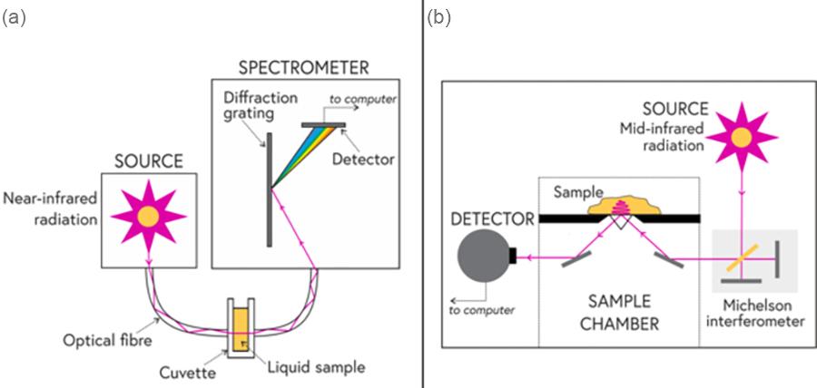 Schematics of NIR and MIR spectroscopy