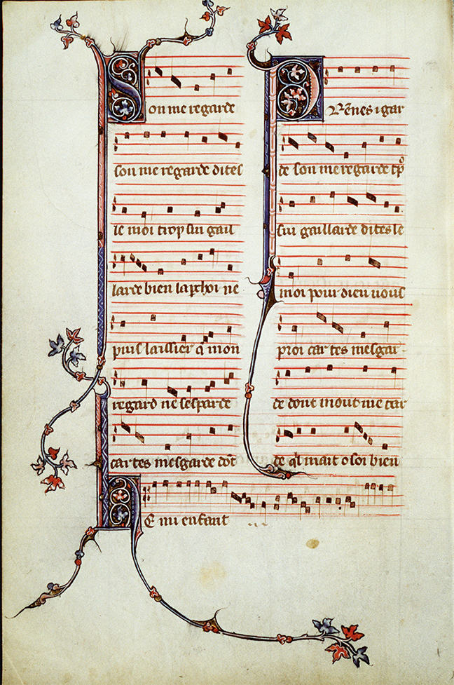 Ancient music sheet of the motet s'on me regarde