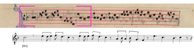 First voice of the manuscript in square notation and a modern transciption