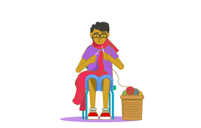 An illustration of a teenage boy sitting on a chair and knitting a large scarf