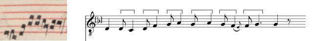Extensio modi from the Transcription of the clausula Go