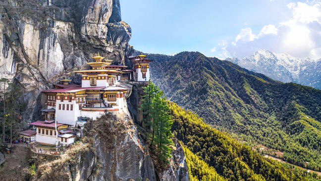 Paro Taktsang, a Himalayan Buddhist sacred site located in upper Paro valley in Bhutan