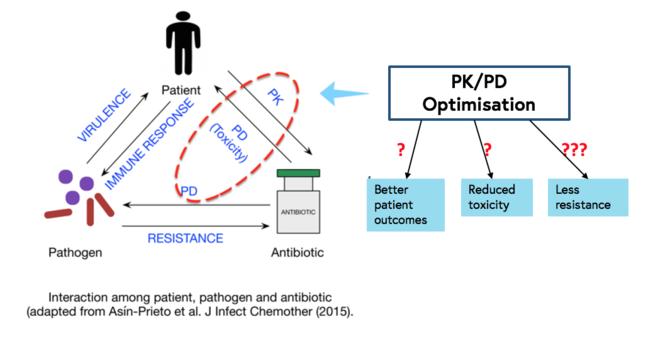 此图显示 PK/PD 优化可能对患者产生的影响,它确保使用正确的抗生素和剂量治疗正确的病原体,以提高患者对该病原体的免疫应答并降低该病原体的毒力,这可能会产生更好的患者治疗效果,降低毒性,减少 耐药性。