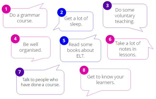 Speech bubbles with advice for preparing for a course
