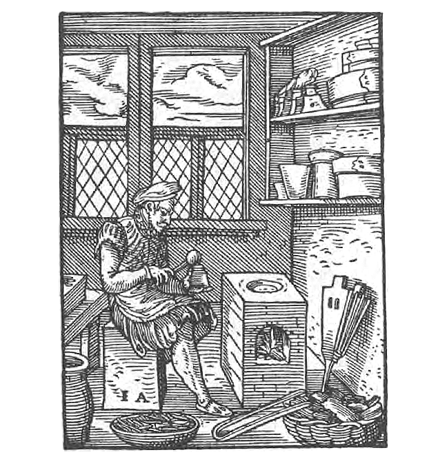 A black and white image of a Type Caster in Jost Amman, Das Ständebuch (Frankfurt am Main, 1568)
