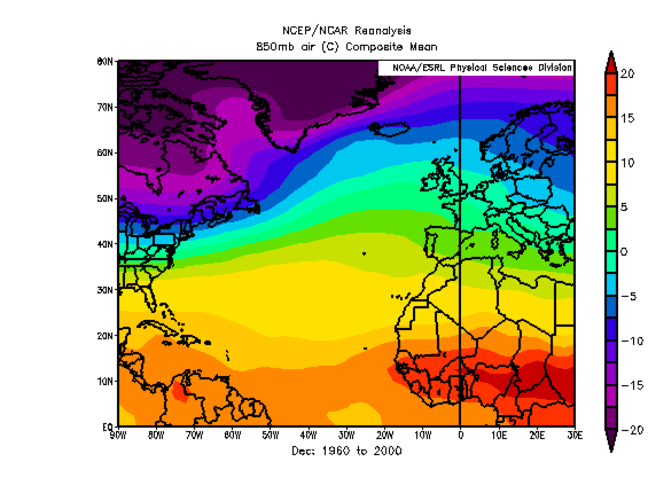 An atmospheric map displaying the temperature of the atmosphere roughly 1.5km above the ground. The map covers the Atlantic, Western Europe, part of Africa and part of the Americas.