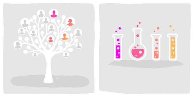image 1. Illustration of a family tree. A few people are highlighted – signalling a genetic connection. image 2. Illustration of a row of test tubes bubbling away