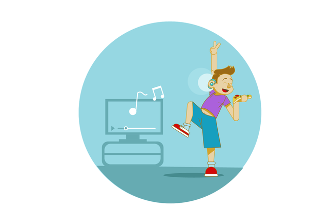 An illustration of a boy with a hearing aid is dancing next to a tv and holding a slice of pizz