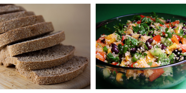 Left: Photo of a sliced loaf of wholegrain bread. Right picture is a photo of a quinoa, mango and black bean salad