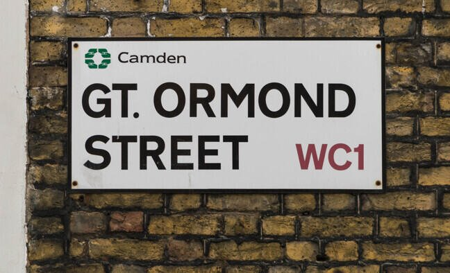 A sign for the road Great Ormond Street