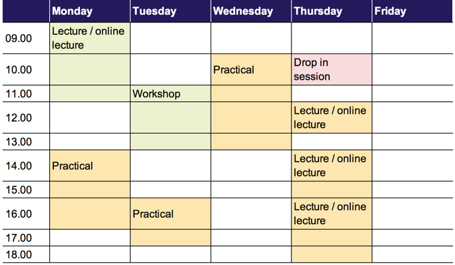 Monday: 9 a.m. to 12 p.m. lecture/online lecture, 2 p.m. to 5 p.m. practical.Tuesday: 11 a.m. to 2 p.m. workshop, 4 p.m. to 6 p.m. practical. Wednesday: 10 a.m. to 2 p.m. practical. Thursday: 10 a.m. to 11 a.m. drop in session, 12 p.m. to 1 p.m. lecture/online lecture, 2 p.m. to 4 p.m. lecture/online lecture, 4 p.m. to 7 p.m. lecture/online lecture. Friday: none