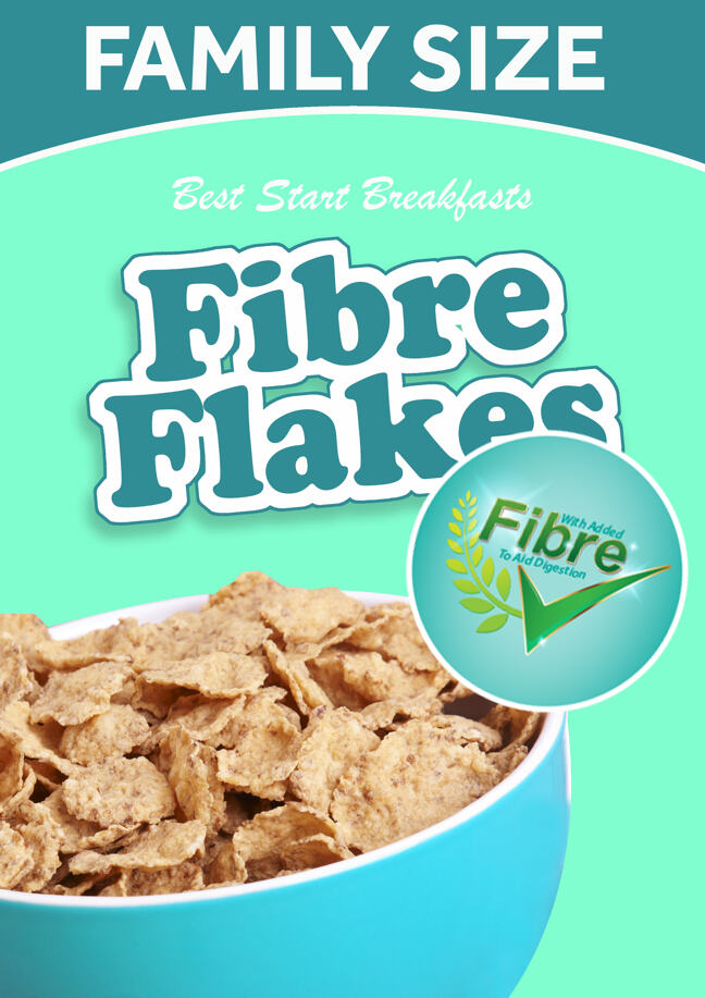 healthy looking breakfast cereal (Fibre Flakes) with banner claiming 'with added fibre to aid digestion'