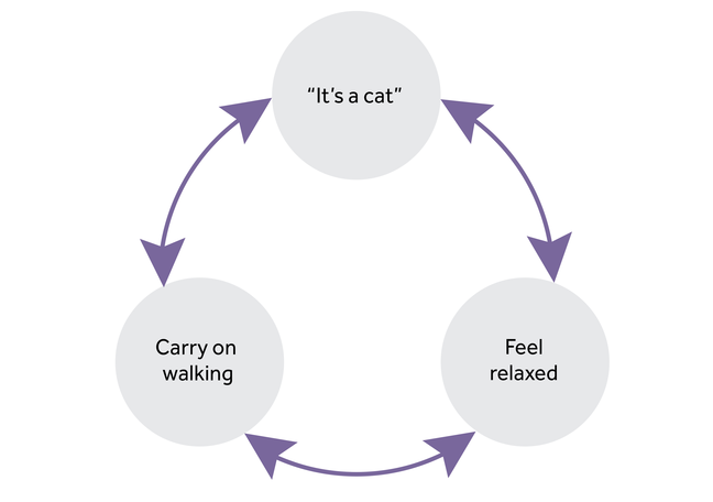 3 circles in a cycle. 1st circle - it's a cat, 2nd circle - feel relaxed, 3rd circle - carry on walking