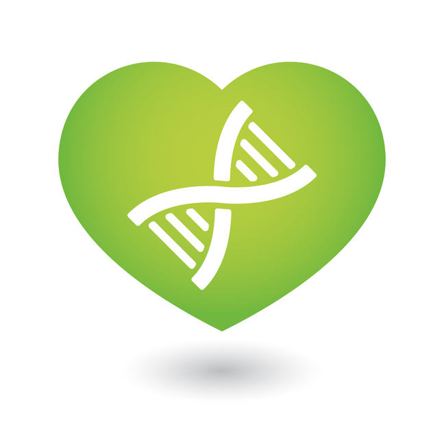 Heart icon with a dna sign