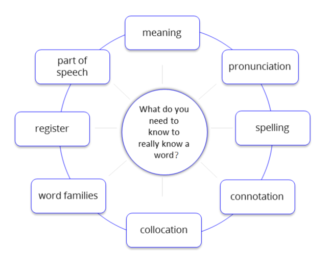 A diagram showing the solutions to a word jumble activity