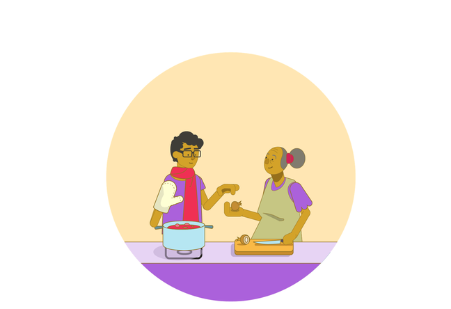 An illustration of a teenage boy standing next to his grandmother as they cook a big pot of stew. She is handing him an onion to put in