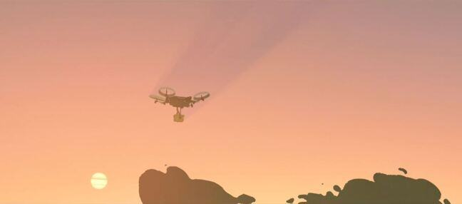 Still from Ciclope featuring a delivery drone flying through a pink, orange and yellow sunset sky.