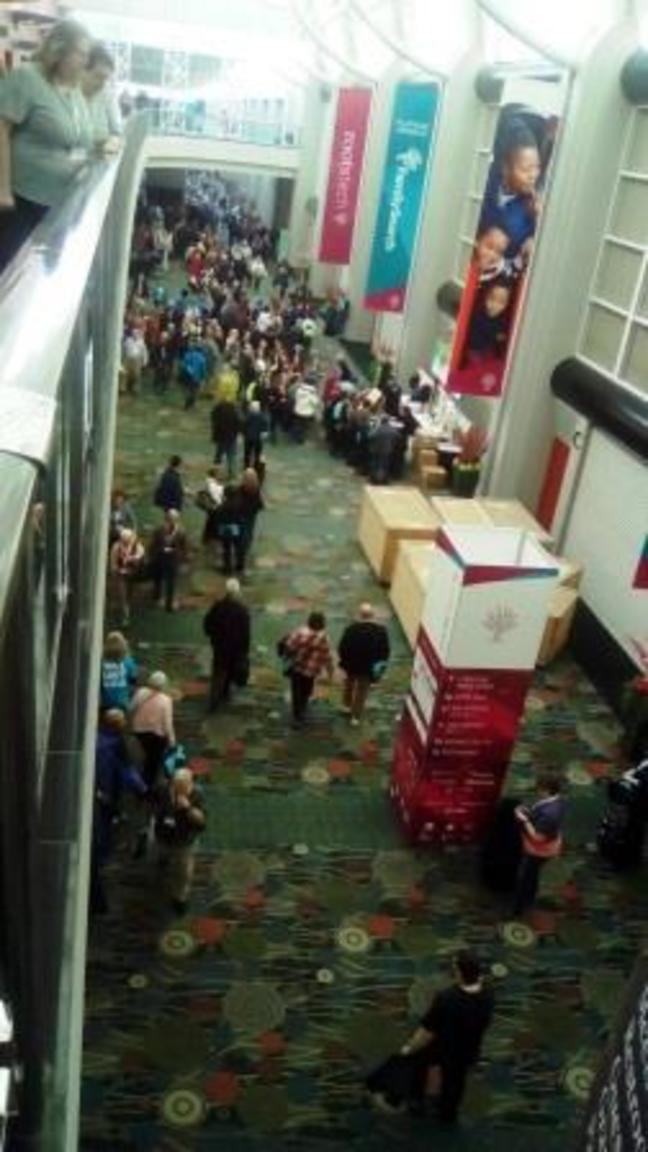 Attendees in the hall