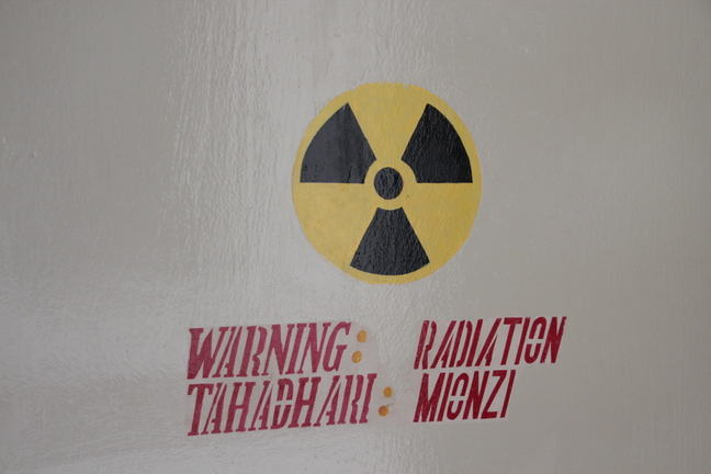 Sign for ionizing radiation on a hospital door in Tanzania_3883.JPG