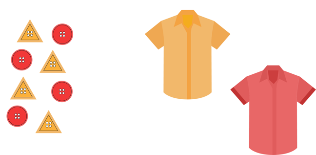 This illustration shows a selection of buttons on the left-hand side and two shirts on the right-hand side. There are two types of buttons: yellow triangular-shaped buttons and round red buttons. The two shirts are plain: one shirt is yellow and one shirt is red.