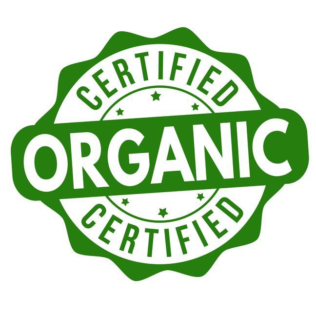 A logo saying 'certified organic'