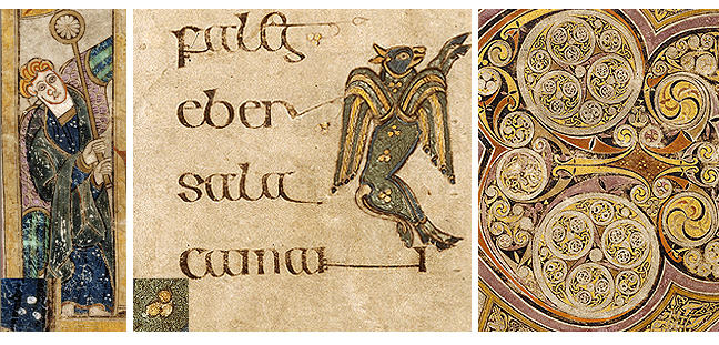Figures 10-12, from the Book of Kells, an image of an angel, an image of a dragon beside lines of text, and a series of spiral patterns, respectively