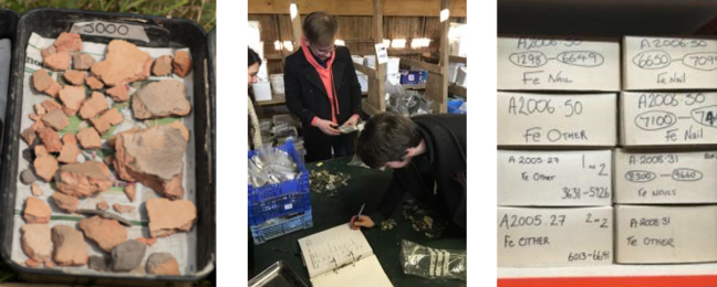 From left to right): A photo of a tray of bulk finds drying, a photo of students bagging and recording finds at the hut, and a photo of finds stored away in boxes