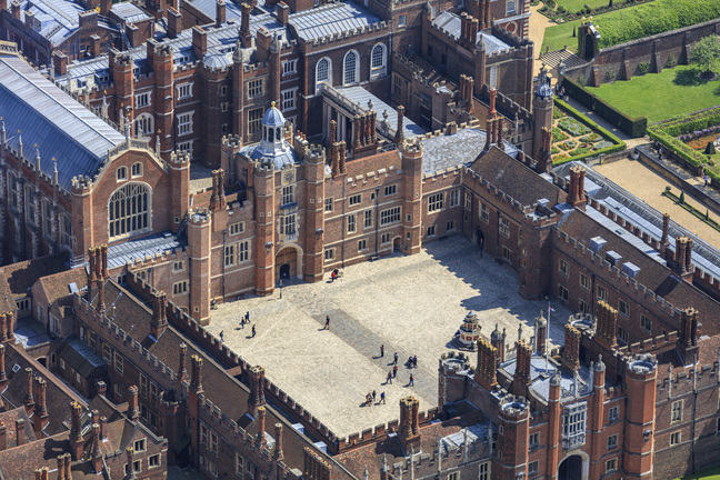 An aerial photograph of Hampton court Palace
