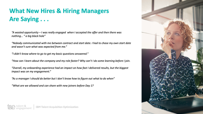 IBM slide providing quotes from new hires and managers