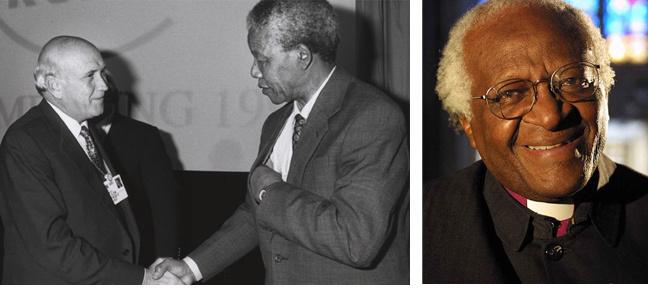 Photos: Frederik de Klerk and Nelson Mandela. Desmond Tutu
