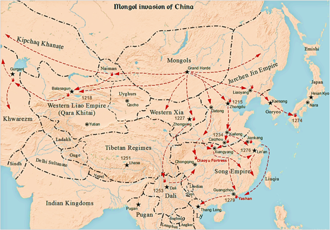 Map of the conquest of China by the Mongols