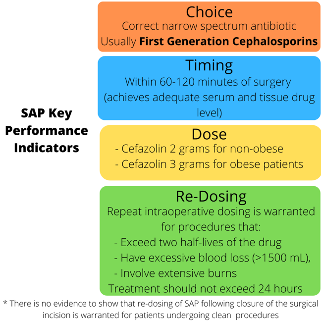 Graphic detailing the key performance indicators of SAP in institutions - Choice, Timing, Dose, and Re-Dosing.