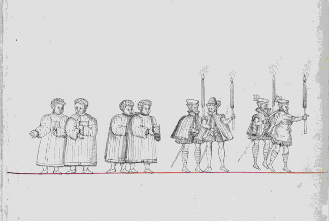 Line drawing of the squires followed by the choir